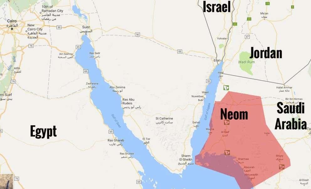 Carte du projet NEOM de l'Arabie Saoudite