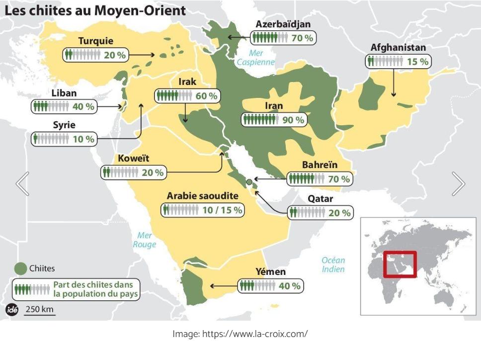 Carte des chiites au Moyen-Orient