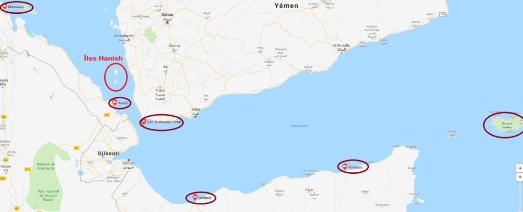 Carte et conflit au Yémen