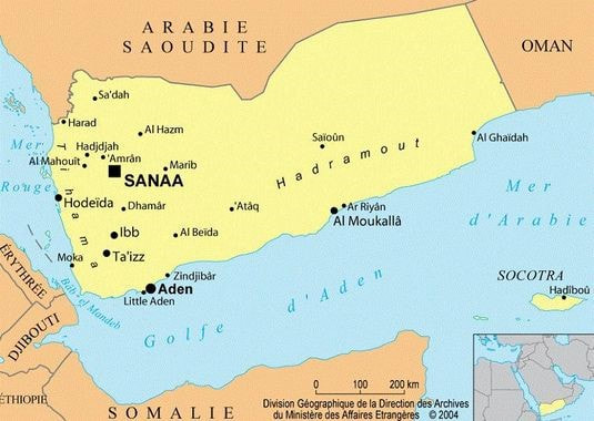 Carte conflits régionaux au Yémen