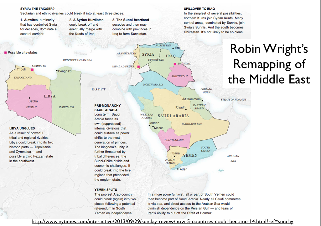 Carte du remodelage du Moyen-Orient