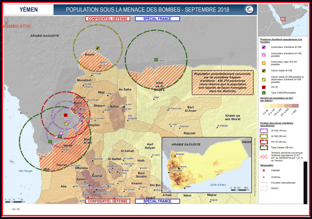 Carte Yémen livraisons armes