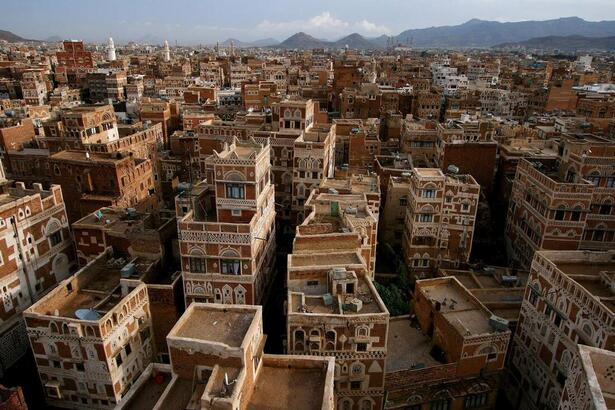 Ville détruite au Yémen