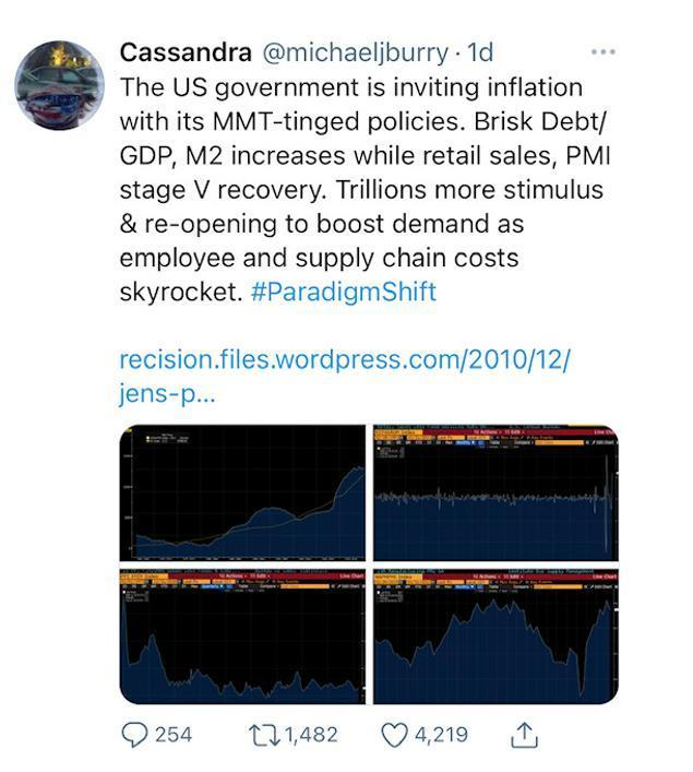 Burry et l'hyperinflation
