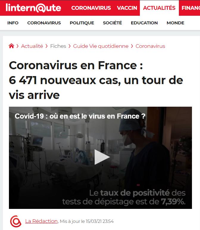 Coronavirus en France : nouveaux cas