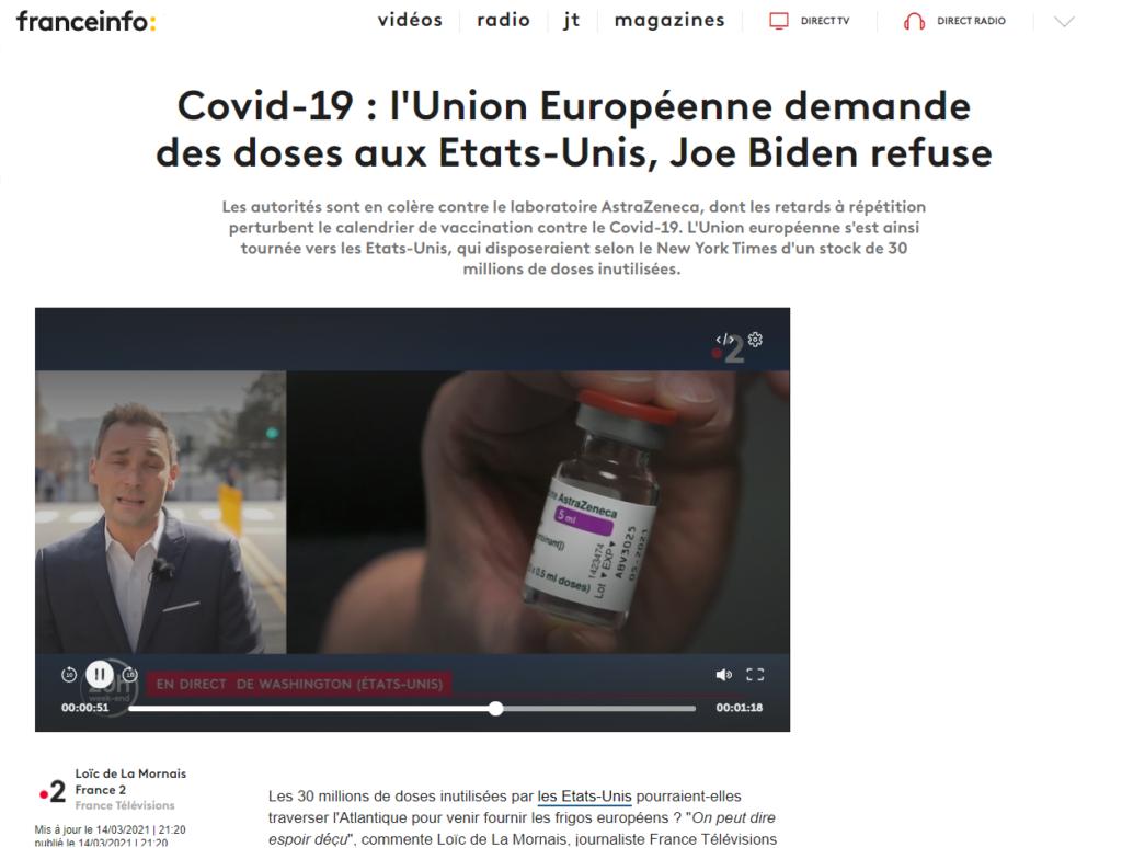 Covid-19 : l'Union Européenne demande des doses aux Etats-Unis, Joe Biden refuse