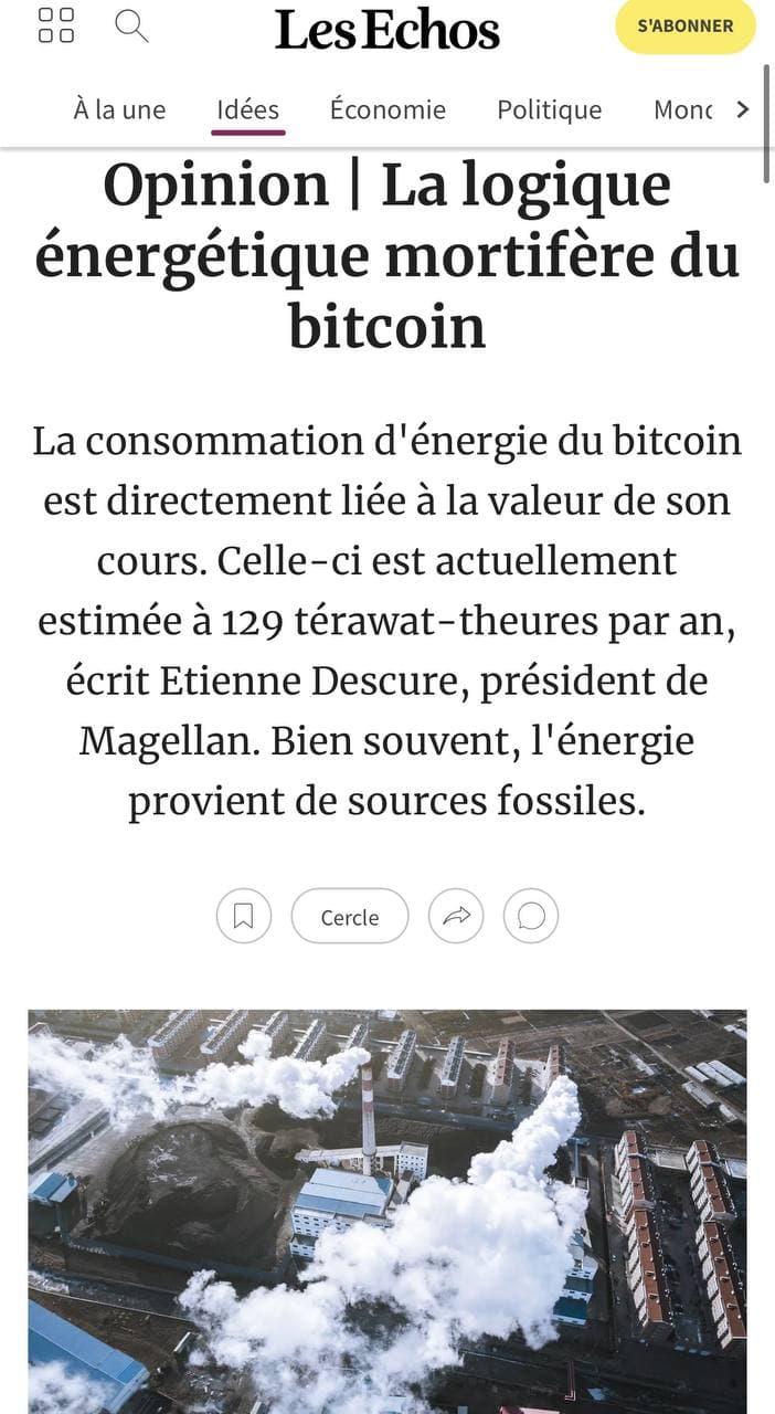 Consommation énergivore du bitcoin
