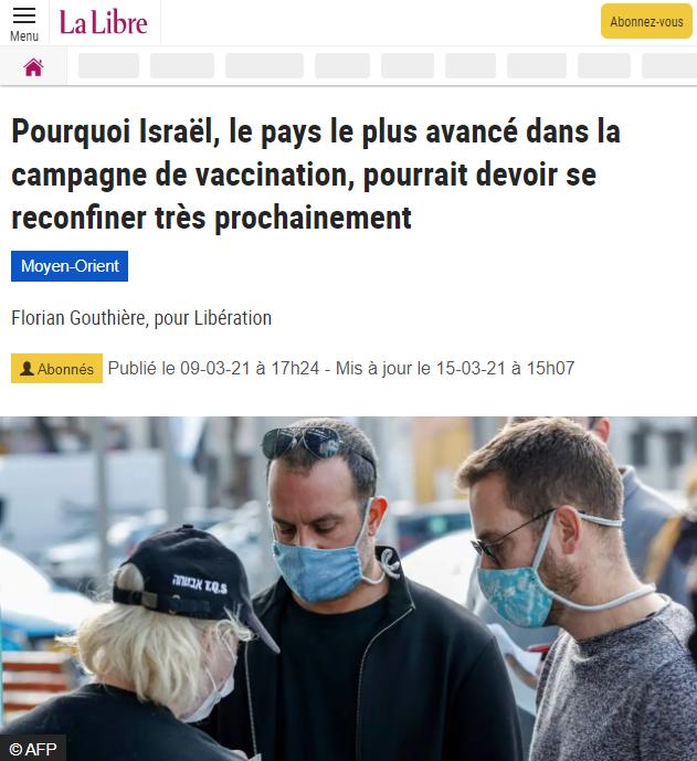 Israël, la vaccination et le confinement