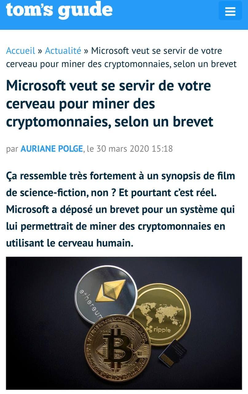 Microsoft mine les cryptomonnaies avec le cerveau humain