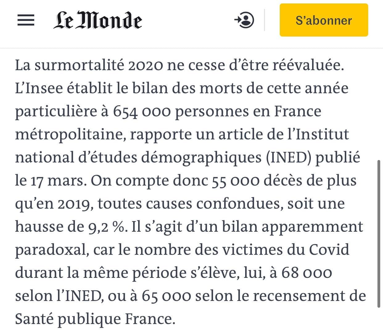 Covid-19, démographie et mortalité en France