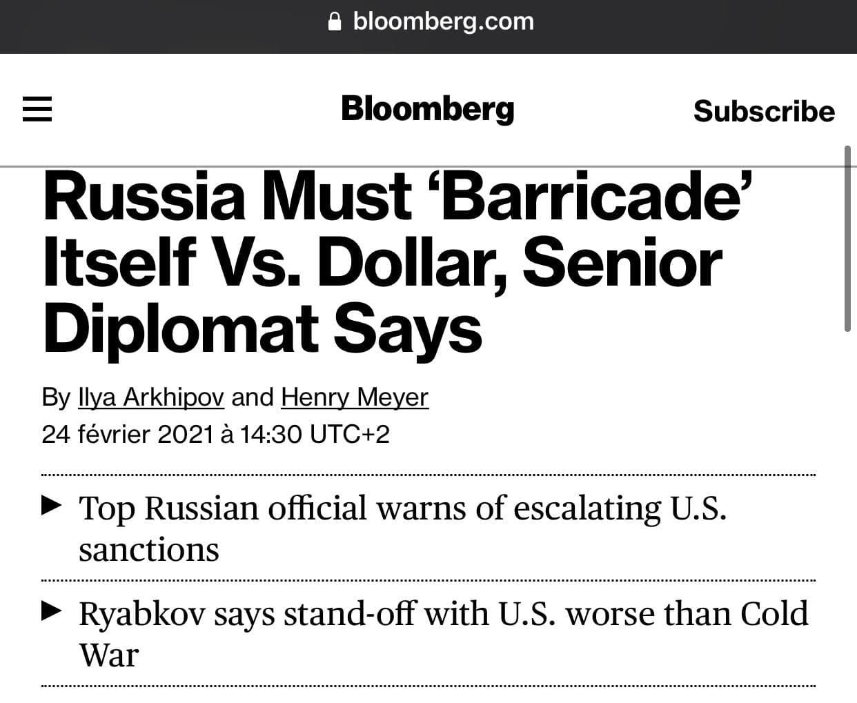 La Russie se dédollarise face à Biden