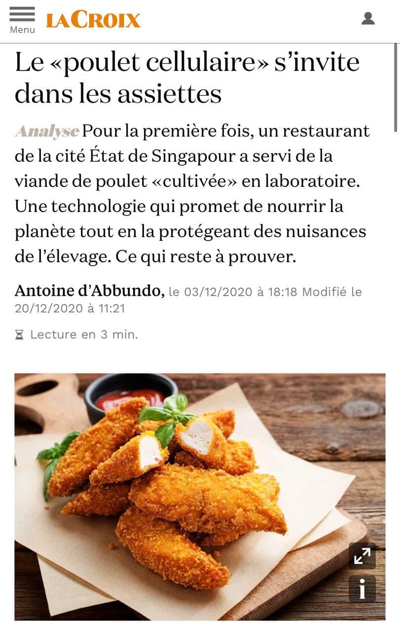 Le poulet cellulaire dans vos assiettes