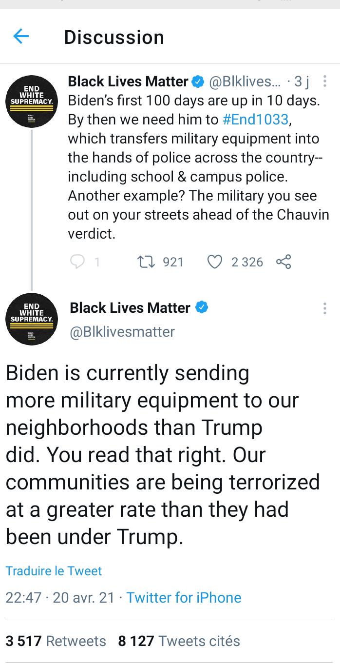 Black Lives Matter critique Joe Biden