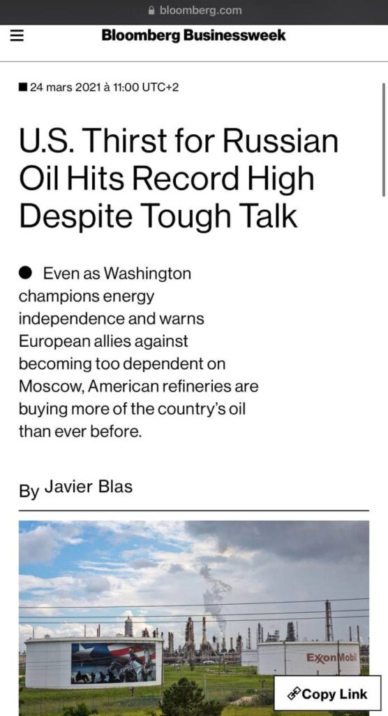 Les américains achète en masse du pétrole russe
