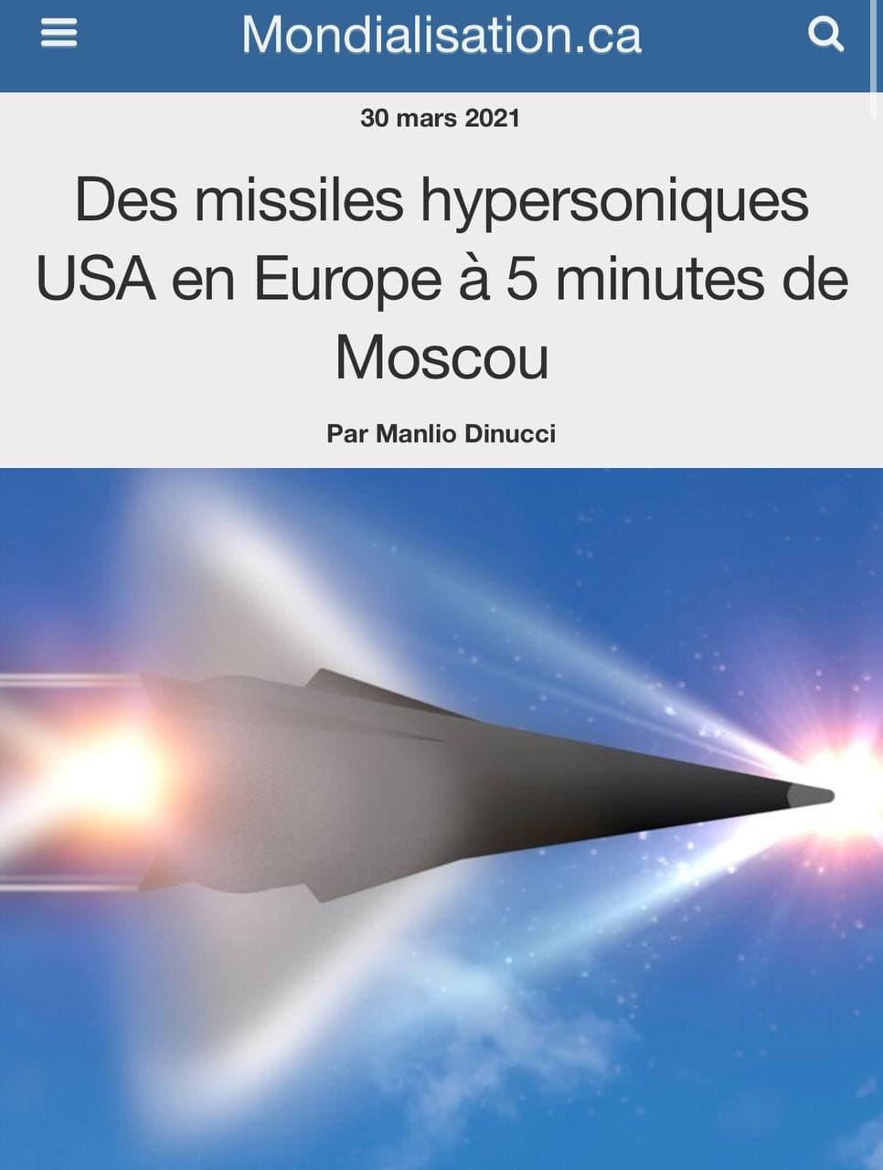 Les missiles hypersoniques des Etats-Unis face à la menace russe