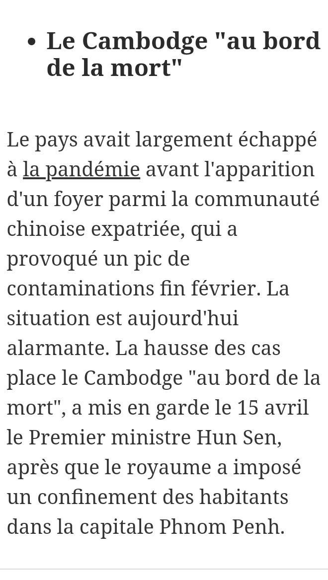 """Le cambodge est """"au bord de la mort"""""""