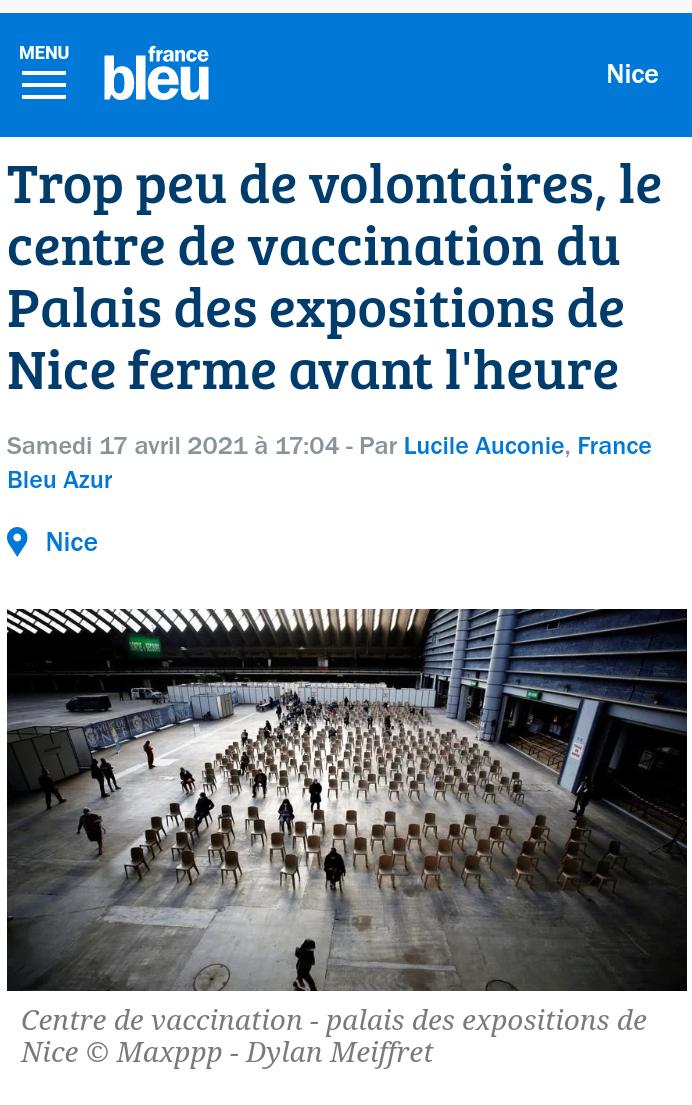 Centre de vaccination de Nice fermé faute de volontaires