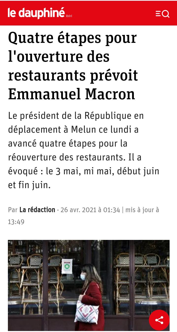 Emmanuel Macron ouvrira les restaurants en quatre étapes