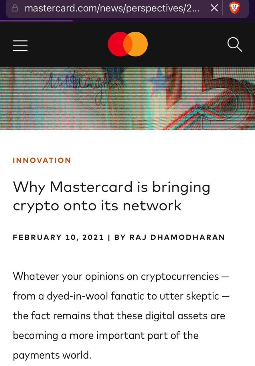 Mastercard accepte les cryptomonnaies