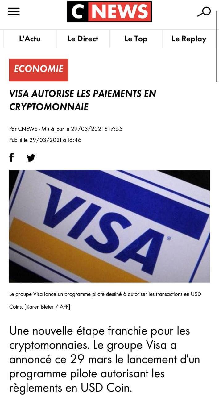 Visa accepte les cryptomonnaies