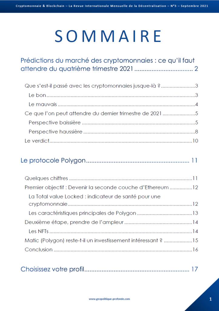 Revue Cryptomonnaie & Blockchain de septembre 2021 sommaire